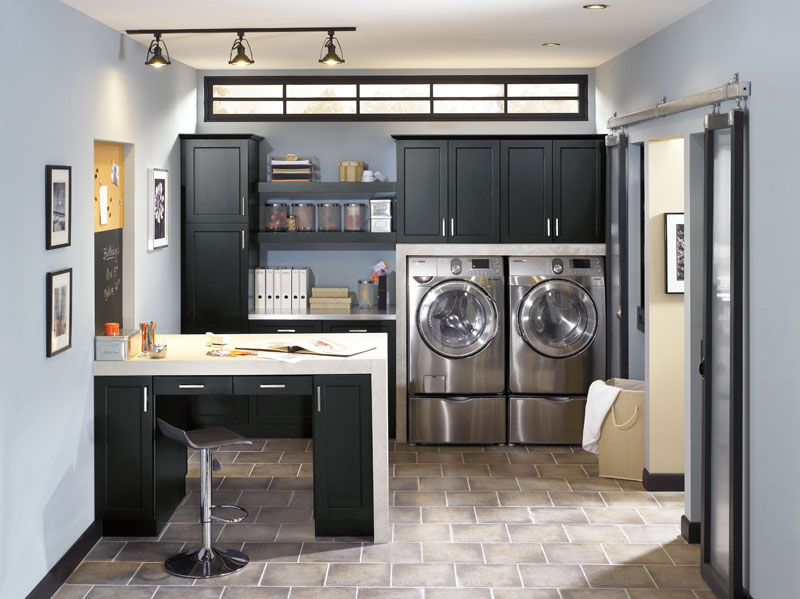Laundry Room Storage With Desk